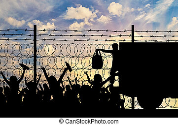 refugees, 援助, 人道主義者, シルエット