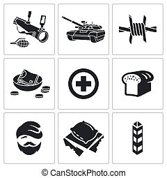 Refugees and fighting Vector Icons Set - Refugees Icon flat...