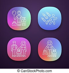 Refugees app icons set. Couple, kid travel abroad with suitcase. Tourist, traveler, passenger. Immigrant child, family. UI UX user interface. Web or mobile applications. Vector isolated illustrations
