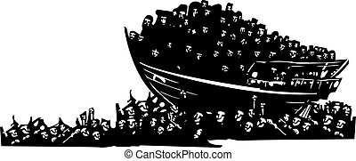 Refugees at Sea - Woodcut style expressionist images of a...