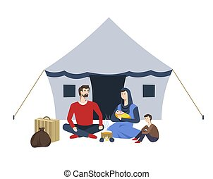 Arab family and tent refugees camp soup on campfire vector immigration resettlement shelter mother with baby father and son baggage suitcase and sack bonfire and food temporary dwelling homeless.