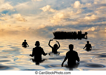 Refugees concept. Refugees swim to shore against the backdrop of boats