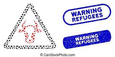 refugees, ellittico, graffiato, avvertimento, mucca, collage...