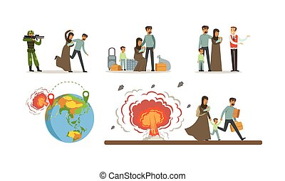 Refugees Escaping From War toward Host Country Vector Illustrations. Man Welcoming Youn Woman with Children, Family Sitting with Luggage and Waiting For the Help