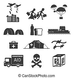 Refugees evacuee concept. War victims black icons set. Bombing and help, humanitarian aid and evacuation, vector illustration