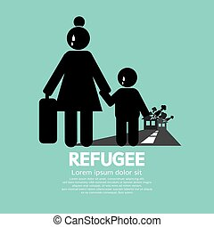 Refugees Evacuee Symbol Vector Illustration