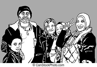 Refugees Group from Syria - Black and White Fictional...
