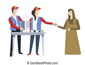 Refugees humanitarian aid food volunteer and Arab woman -...