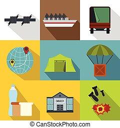 Refugees icons set, flat style