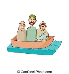 Refugees in a boat icon, cartoon style
