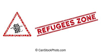 refugees, línea, rasguñado, advertencia, zona, fumador,...
