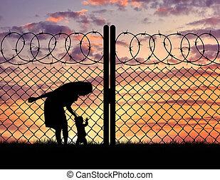 refugees, macierz, sylwetka, dziecko