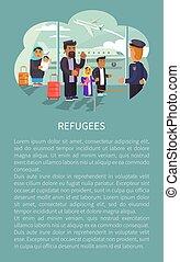 refugees, op, luchthaven, poster, vector, illustratie