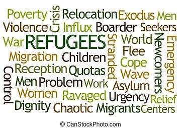 refugees, palavra, nuvem