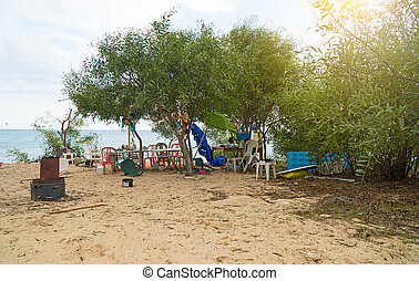 Refugee's place on the sea beach.