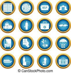 Refugees problem icons blue circle set