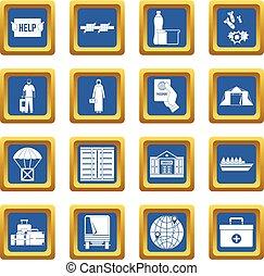 Refugees problem icons set blue