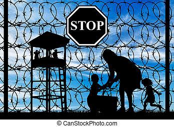 refugees, sylwetka, dzieci, macierz