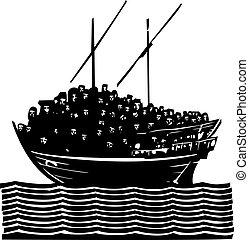 refugiado, barco, migrant