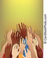refugiado, manos