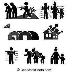 refugiado, vetorial, jogo, ilustração, ícone