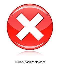 refugo, botão, -, crucifixos, errado, vermelho