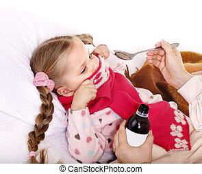 refugo, medicine., tomar, criança doente