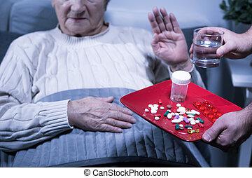refugo, paciente, medicinas