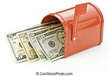 refund and rebate - cash and mailbox representing refund,...