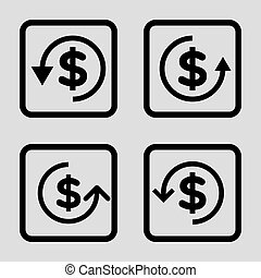 Refund vector icon. Image style is a flat icon symbol inside a square rounded frame, black color, light gray background.