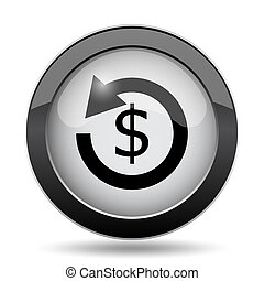 Refund icon. Internet button on white background.
