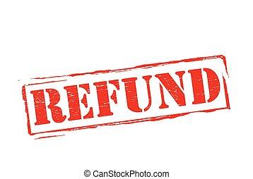 Refund - Stamp with word refund inside, vector illustration