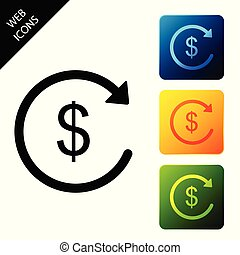 Refund money icon isolated. Financial services, cash back concept, money refund, return on investment, savings account, currency exchange. Set icons colorful square buttons. Vector Illustration