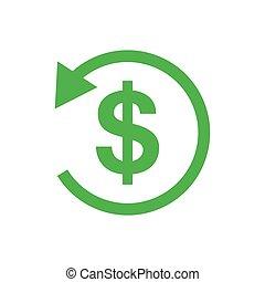 Refund money icon. Vector illustration. Green sign of refund...