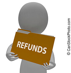 Refunds Folder Means Money Back And Administration 3d...