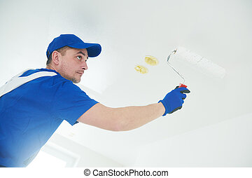 refurbishment., plafon, festőhenger, festmény, szobafestő