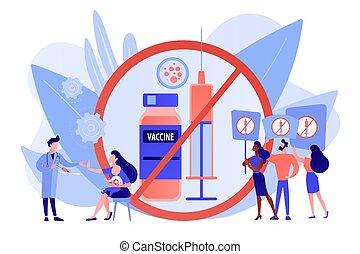 Refusal of vaccination concept vector illustration.