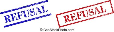 Grunge REFUSAL rubber stamps in red and blue colors. Seals have rubber texture. Vector rubber imitations with REFUSAL phrase inside rectangle frame, or parallel lines.