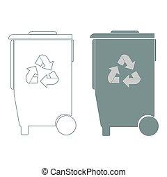 Refuse bin with arrows utilization
