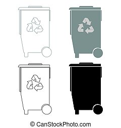 Refuse bin with arrows utilization the black and grey color...