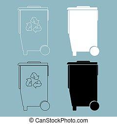 Refuse bin with arrows utilization  the black and white color icon .