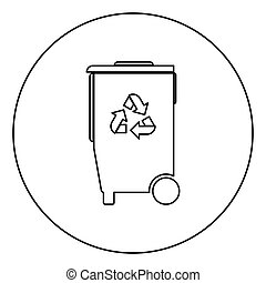 Refuse bin with arrows utilization the black color icon in...