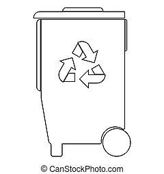Refuse bin with arrows utilization the black color icon . -...