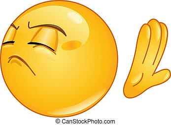 Emoticon making deny sign