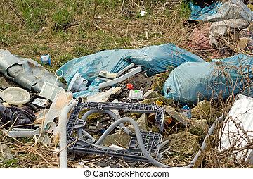 refuse heap - wild refuse heap left near the road throws...