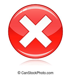 refuser, bouton, -, croix, mal, rouges