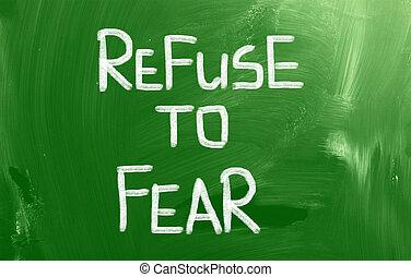 refuser, concept, peur