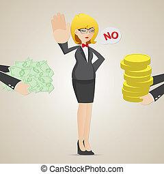 refuser, femme affaires, personne, autre, argent, dessin animé