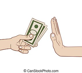 Refusing money - This is an illustration of refusing money
