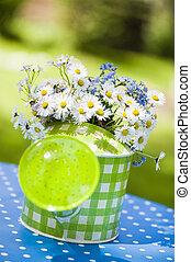 regadera, con, margarita, flores